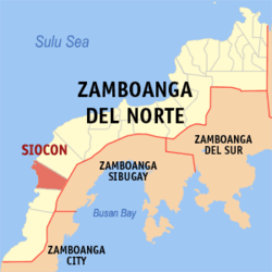 Map of Zamboanga del Norte showing the location of Siocon
