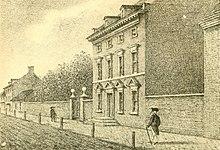 Gravura da Casa do Presidente Washington na Filadélfia, sua residência de 1790 a 1797