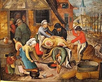 Pig slaughter - Peasants slaughtering a pig, by Flemish artist Pieter Brueghel, after 1616