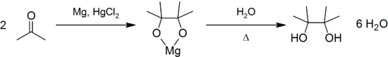 Pinacol coupling of acetone.png