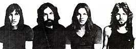 Van links af: Roger Waters, Nick Mason, David Gilmour en Richard Wright in of voor 1971