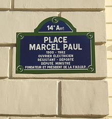 Plaque de rue de la place Marcel-Paul à Paris XIV°.
