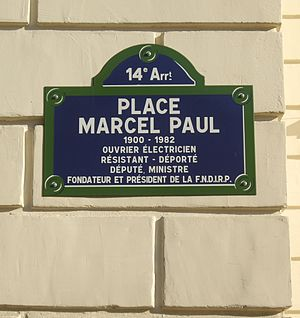 Marcel Paul - Plaque marking square named for Marcel-Paul in Paris