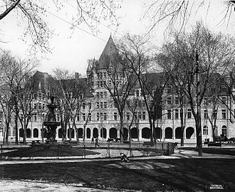 Place Viger - View from gardens, c. 1901.