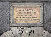 Plaque in memory of André Grétry, 29-31 Grand Rue, Geneva. (Source: Wikimedia)