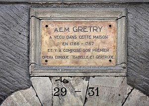 André Grétry - Plaque in memory of André Grétry, 29-31 Grand Rue, Geneva.