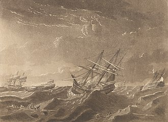 HMS Centaur (1759) - Image: Plate IV. A View of the Sea on the Morning after the Storm, with the distressed situation of the Centaur, Ville de Paris and the Glorieux as seen from the Lady Juliana, the Ville de Paris passing to Windward under RMG PY8434 (cropped)