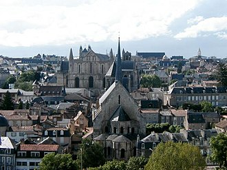Poitiers - Historic centre of Poitiers with Church of Saint-Radegund, Cathedral of Saint-Pierre and Palace of Justice in the background