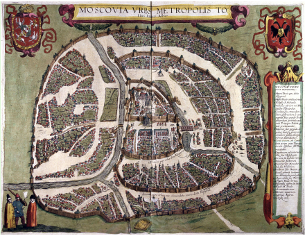 """Sigismundian"" Plan of Moscow (1610), named after Sigismund III of Poland, is the last city plan compiled before the destruction of the city in 1612 by retreating Polish troops and subsequent changes to the street network. Orientation: north is at the right, west at the top Polish plan of Moscow 1610.PNG"