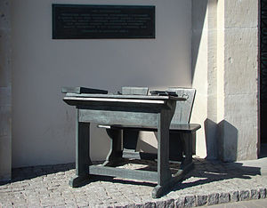 English: School desk monument