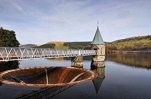 Pontsticill Reservoir - Bell-mouth spillway and valve tower