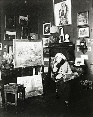 Harriet Backer - Harriett Backer in her workshop, circa 1920