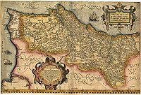 A 16th century map of the Kingdom of Portugal, clearly showing the separated status of the Algarve at the time.