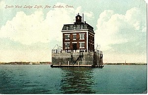New London Ledge Light - Postcard, about 1910