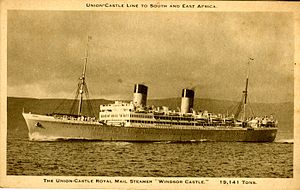 RMS Windsor Castle (1922) - SS Windsor Castle after being fitted with a more raked bow and her four funnels reduced to two