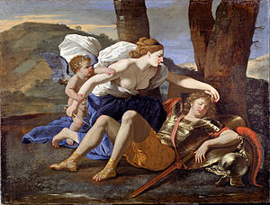 Jerusalem Delivered - Nicolas Poussin, Armida discovers the sleeping Rinaldo, 1629. Cupid restrains her from stabbing her enemy.