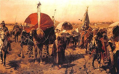 Return from Vienna by Józef Brandt, Polish army returning with loot of the Ottoman forces. - Battle of Vienna