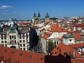 Praha - Klementinum - Astronomical Tower - View East towards Magistrate, Týn Church & Tower Old Town Hall.jpg
