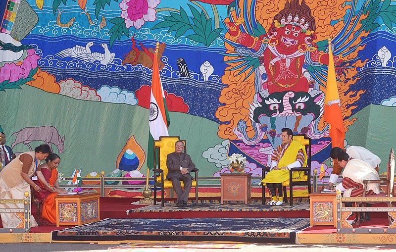 File:Pranab Mukherjee and the King of Bhutan, His Majesty King Jigme Khesar Namgyel Wangchuck witnessing the signing of a Memorandum of Understanding between the Bhutan and India on the Establishment of Nalanda University.jpg