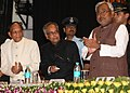 Pranab Mukherjee attending the Launching Ceremony of Agriculture Road Map of Bihar (2012-2017), at Patna, in Bihar. The Governor of Bihar, Shri Devanand Konwar and the Chief Minister of Bihar, Shri Nitish Kumar are also seen.jpg
