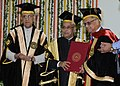 Pranab Mukherjee presenting the Doctor of Science (Honoris Causa) to the Founder and Executive Chairman of the Board of Infosys Limited, Shri N.R. Narayana Murthy.jpg