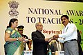 Pranab Mukherjee presenting the National Award for Teachers-2013 to Shri N. Venkataramanappa, Karnataka, on the occasion of the 'Teachers Day', in New Delhi. The Union Minister for Human Resource Development.jpg