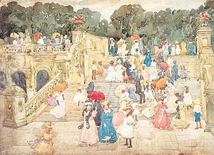 Central Park Mall - Bethesda Terrace stairs at the end of The Mall, watercolor by Maurice Prendergast, 1901
