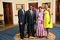 President Barack Obama and First Lady Michelle Obama greet His Excellency Arthur Peter Mutharika, President of the Republic of Malawi.jpg