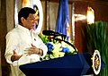 President Rodrigo Duterte delivers a message during the oath of office of his new appointees.jpg