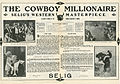 Press sheet for THE COWBOY MILLIONAIRE, 1913 (Page 1).jpg
