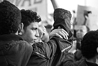 Protesters during the 2011 Egyptian Revolution (monochrome).jpg