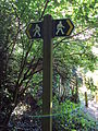 Public footpath sign, Burton Wood.JPG
