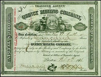 Quincy Mine - Share of the Quincy Mining Company, issued 8. February 1876