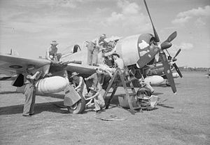 No. 81 Squadron RAF - 81 Squadron Thunderbolt being prepared for action against Indonesian nationalists at Kemajoran airfield, Batavia