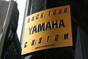 Close up of Yamaha Rock tour Custom badge.