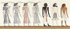 "White people - 1820 drawing of a Book of Gates fresco of the tomb of Seti I, depicting (from left) four groups of people: Libyans (""Themehu""), a Nubian (""Nehesu""), an Asiatic (""Aamu""), and an Egyptian (""Reth"")."