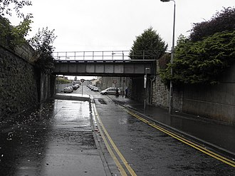 "Drumcree conflict - The underpass leading from the town centre (behind camera) to Obins Street (beyond the bridge). The area is known as ""the Tunnel""."