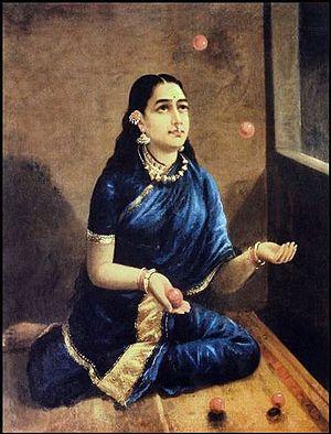Juggling ball - Raja Ravi Varma (1848–1906) Lady Juggler