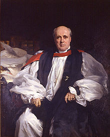 Painting of a bald, clean-shaven white man in late middle age, seated, in the rochet and chimere of an Anglican bishop