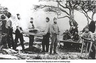 "Fleetwood Rawstorne's ""Red Cap Party"" of prospectors on Colesberg Kopje Red Cap Party.jpg"
