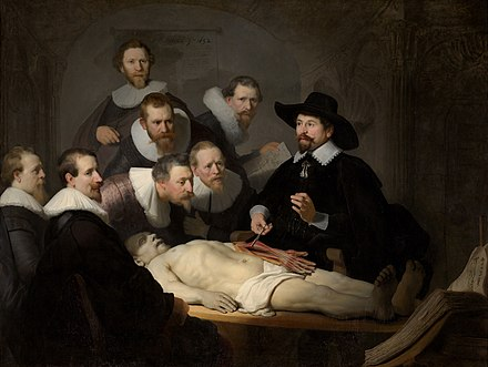Rembrandt paints The Anatomy Lesson of Dr. Nicolaes Tulp. Rembrandt - The Anatomy Lesson of Dr Nicolaes Tulp.jpg
