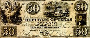 Texas dollar - Image: Republic of Texas Fifty Dollars