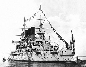 Battle of the Yellow Sea - Russian battleship Retvizan, whose captain received severe wounds in the ship's brave solo charge against the Japanese fleet