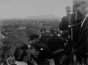 Revolution of 1895 – Watching the Battle of Kamoiliili from the tower of the Executive Building (PP-53-3-004).jpg