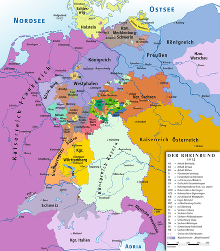 Member states of the Confederation of the Rhine, 1812 Rheinbund 1812, political map.png
