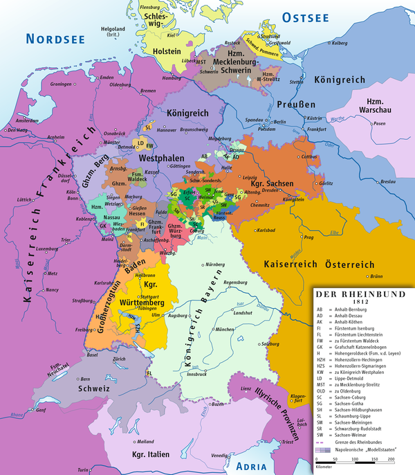 The Confederation of the Rhine, composed of client states under Napoleon's control, 1806 to 1813; most German states belonged except Prussia (in the northeast) and Austria (in the southeast). The map text is in German Rheinbund 1812, political map.png