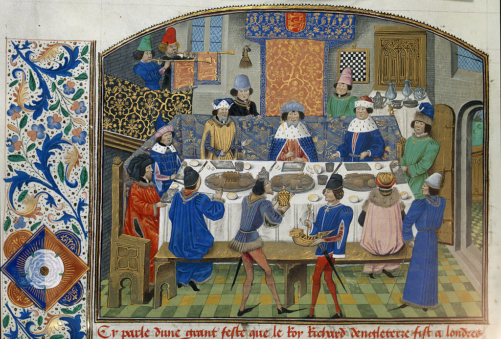 Richard II dines with dukes - Chronique d' Angleterre (Volume III) (late 15th C), f.265v - BL Royal MS 14 E IV