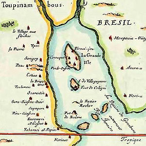 Battle of Rio de Janeiro (1558) - Map of France Antarctique in the Guanabara Bay, 1555.