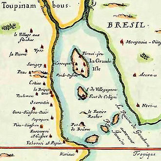 France Antarctique - Map of France Antarctique in the Guanabara Bay, 1555.