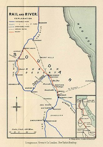 Battle of Abu Hamed - Map of Kitchener's supply and communication lines in Sudan